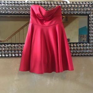 honey and Rosie Dresses - Cute strapless hot pink coral homecoming dress 0